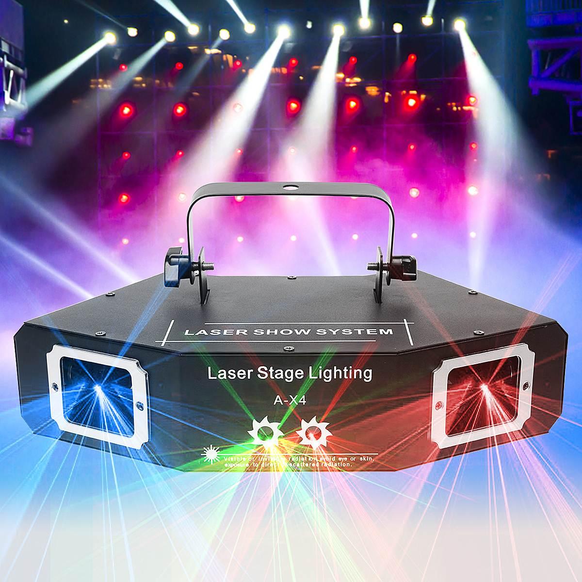 DMX RGB Pattern 4 Len sound Control LED Stage Lighting Effect Laser Beam Lamp For DJ Disco KTV Bar Indoor Decor Lighting rg mini 3 lens 24 patterns led laser projector stage lighting effect 3w blue for dj disco party club laser
