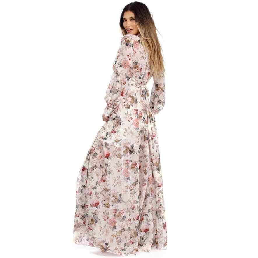 Plus Size Maxi Dresses For Women Floral V Neck Long Sleeve Chiffon Party Dresses Elegent Long Evening Boho Casual Dress Vestidos