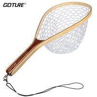 Goture cao su lưới đánh cá landing net tre và khung gỗ tay ròng ròng đối fly fishing
