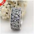Shimmering Leaves Rings With Clear Cubic Zirconia 100% 925 Sterling Silver Fashion Jewelry Free Shipping
