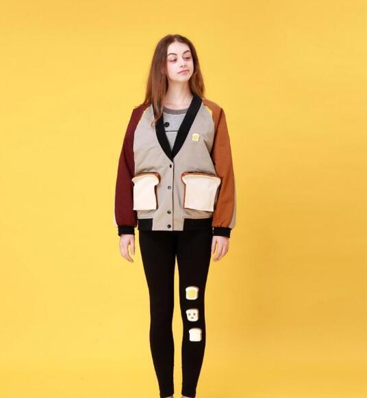 De estilo japonés de la costura de la chaqueta floja gruesa