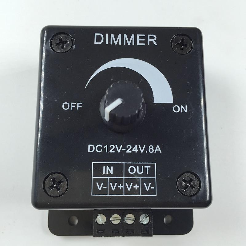 Black White Led Dimmer Switch Dc 12v 24v 8a Adjustable