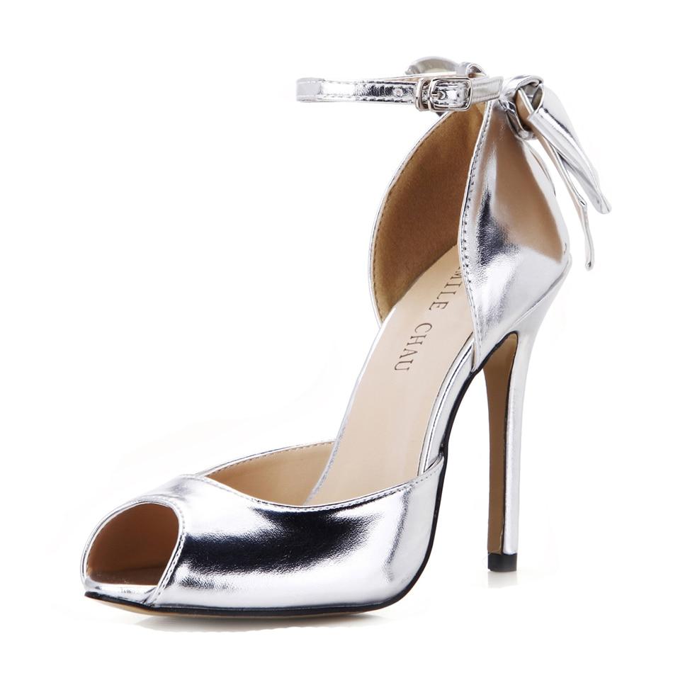 CHMILE CHAU Silver Metallic PU Elegant Bridal Party Women Shoes Peep Toe Thin Heel Ankle Strap Bow Pumps Zapatos Mujer 0640C-k3