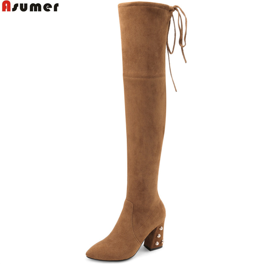 ASUMER black Brown fashion women boots square heel kid suede pointed toe Stretch boots leather sexy over the knee boots big size memunia black pointed toe fashion women boots zipper kid suede boots square heel leather cross tied sexy over the knee boots