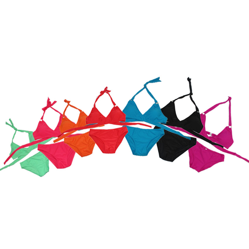 Summer Pure Color Bikini for Sexy Woman Thin Cool Fabric Free Adjustable Strap Swimwear Padded Bra Bikini Beach Set