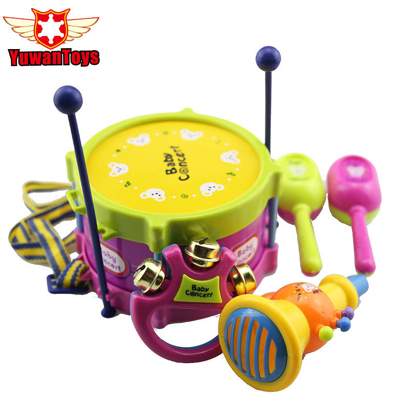 5pcs set Musical Instruments Playing Educational Baby Kids Roll Drum Musical Instruments Band Kit Children Toy