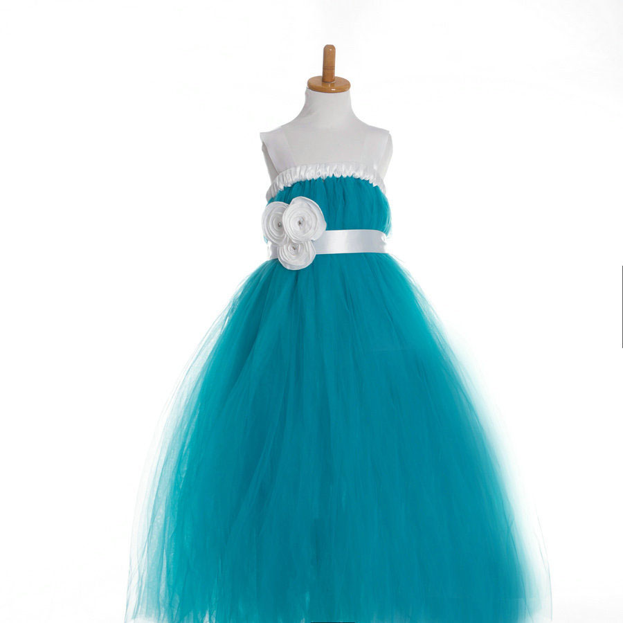fashion kids formal blue green tutu verde kd 8 long little girls evening gowns