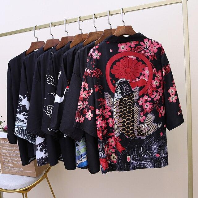 Кимоно Кардиган Блузка хараджуку рубашка Летняя Пляжная верхняя одежда свободные кимоно женские 2019 косплей женские японские кимоно повседневные топы