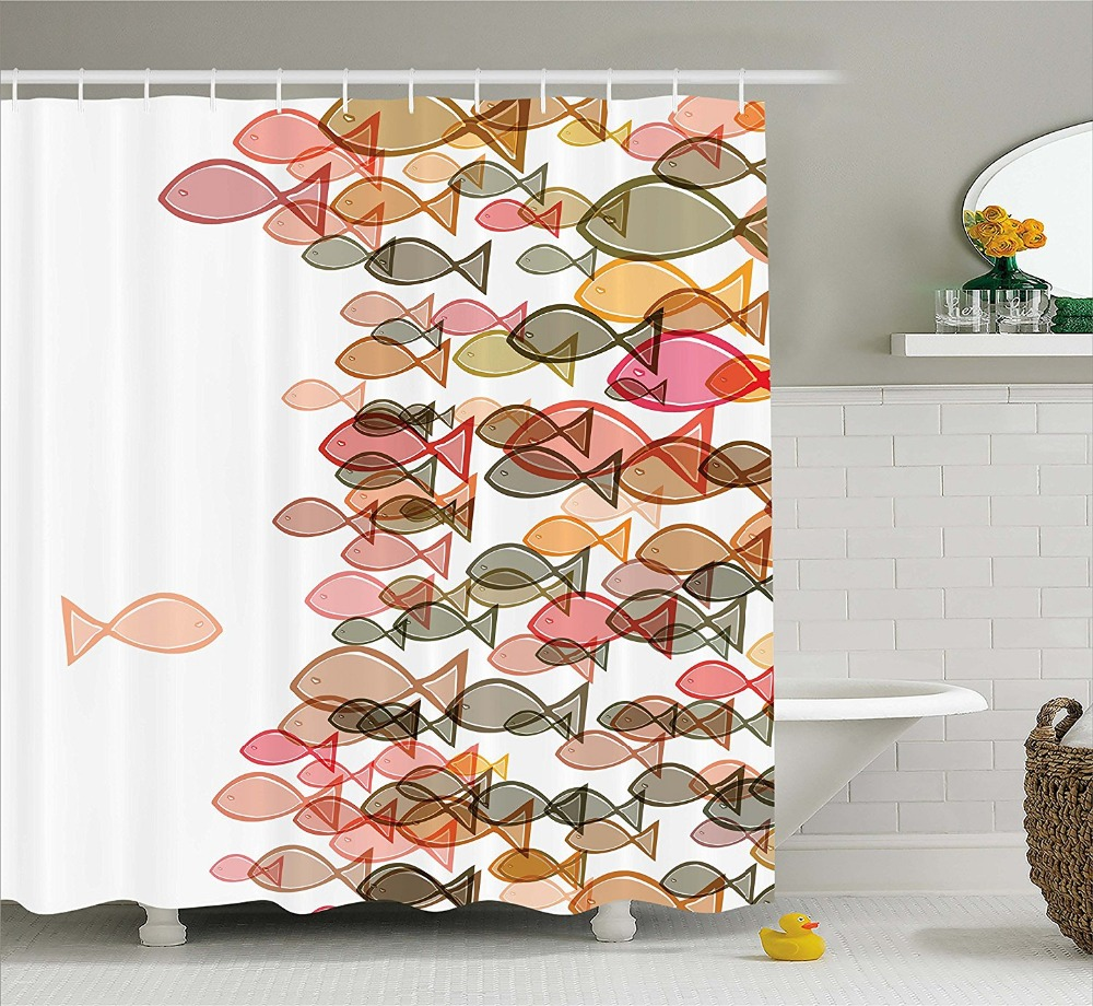 Современные художественные занавески для душа цветные рыбки из флока морской Коралловый Желтый Зеленый принт декоративные занавески для в