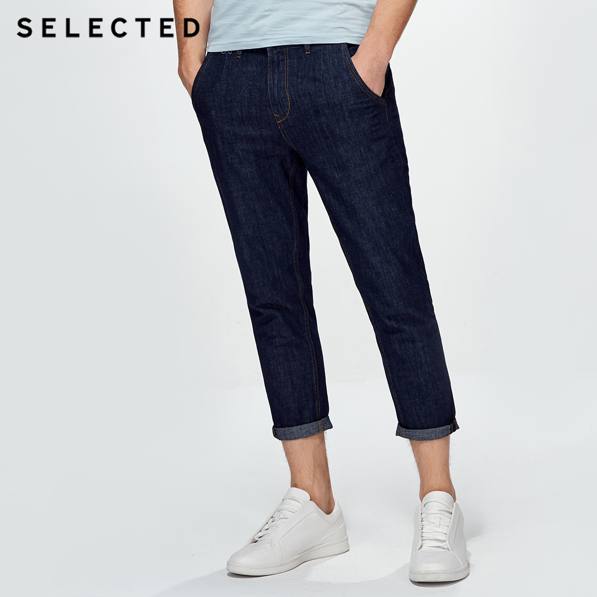 SELECTED cotton loose chopped   jean   pants C|418232523