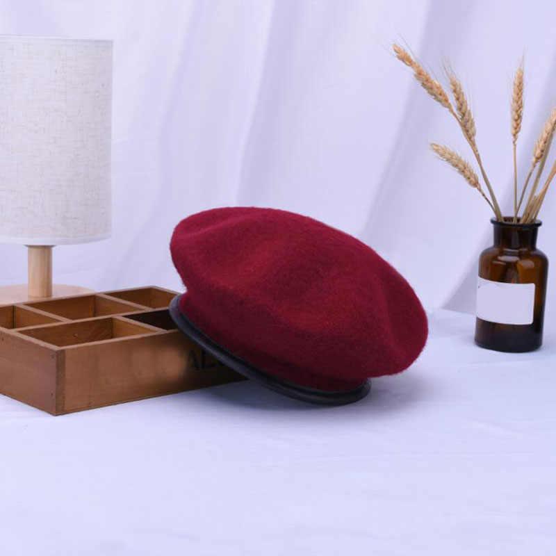 Ymsaid кожаный Французский Берет шапка черная Женская 100 шерсть войлочные зимы береты для женщин зима осень шапка размер 56-58 см