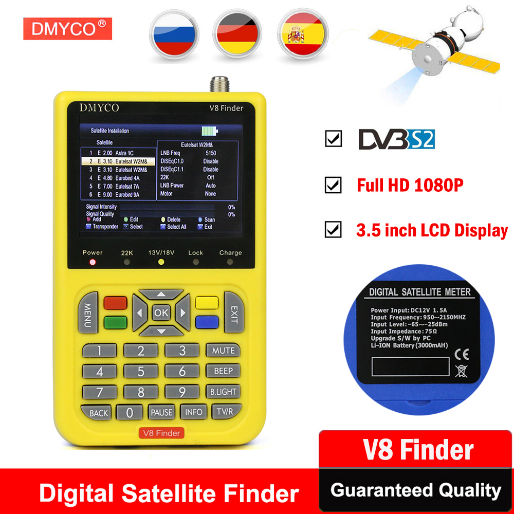 все цены на V8 finder HD Satellite Finder With 3.5 inch LCD Digital SatFinder DVB-S2 tv tuner MPEG-4 DVB FTA Portugal Satellite Signal Meter онлайн