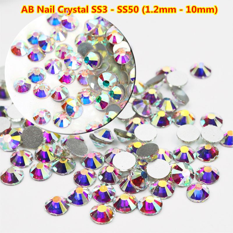 1440pcs Nail Crystals Rhinestones Nail Art Flatback 3D Nail Art Decorations Glass Gems Stones SS3-SS50 Clear ab Half-beads 500pcs top quality 3d nail art decorations red ab shaped mixed nail art tips design rhinestones for nails crystal gems diy