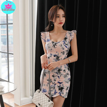 2019 summer new Korean version of the ladies style sleeveless slim printed bottoming dress