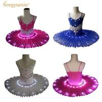 Women's Professional Ballet Skirt Kids' Swan Ballet LED Illuminate Tutu Dress 4colors 90 170cm Girl Hot drilling tutu skirt