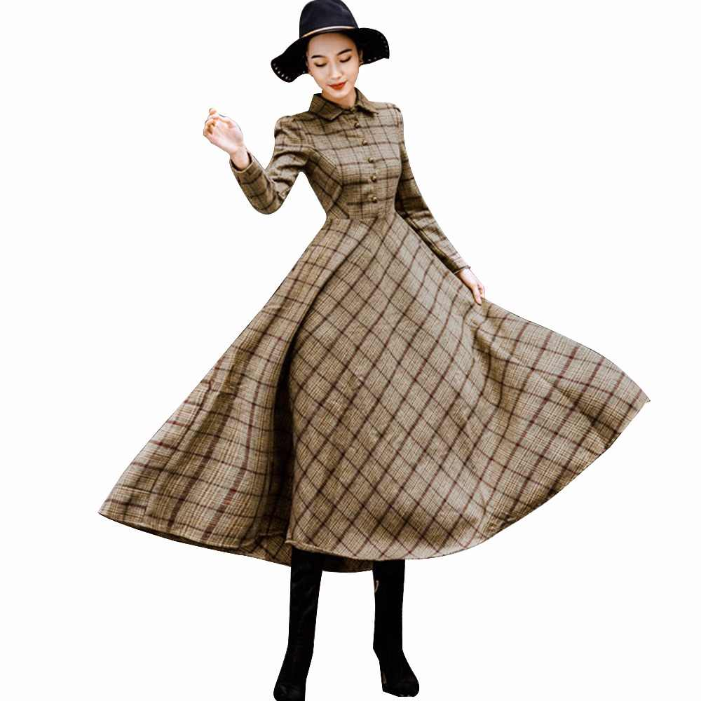 fad416fc401c Sisjuly Vintage Plaid Wool Dress Women Winter 2018 Thicken Warm Elegant  Stylish Ladies Skinny Retro Long
