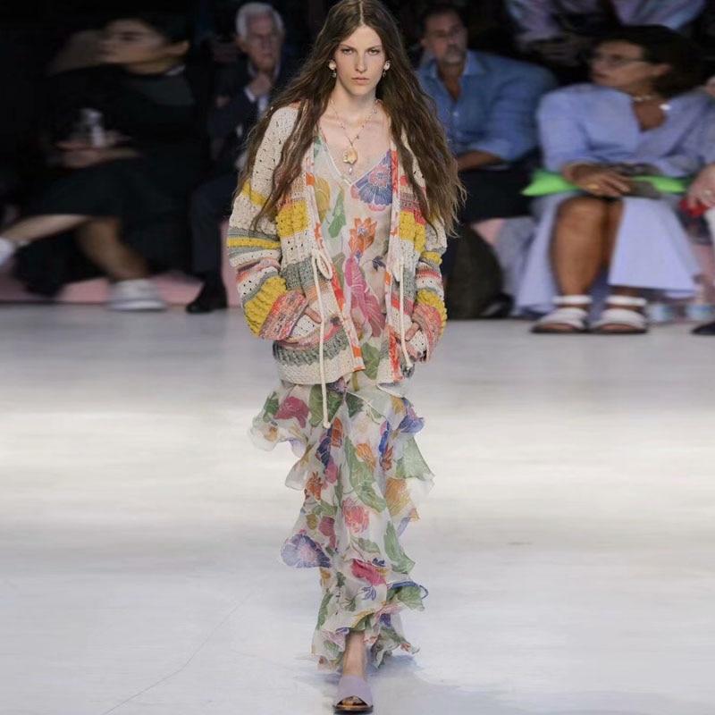 Robe longue belle haute qualité nouvelle femme mode fête Sexy bohème plage Vintage Chic impression crème solaire lâche robes en mousseline de soie