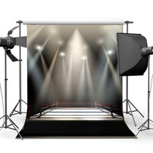 Anneau de boxe toile de fond décors de boxe intérieur stade stade lumières sombre athlétique sport gymnase fond