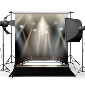 Image 1 - Boxing Ring Backdrop Boxing Backdrops Interior Stadium Stage Lights Dark Athletic Sports Gymnasium Background