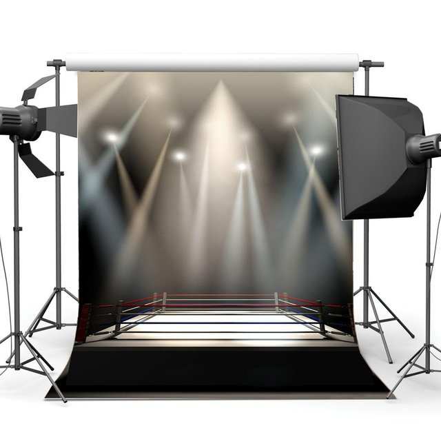 Boxing Ring Backdrop Boxing Backdrops Interior Stadium Stage Lights Dark Athletic Sports Gymnasium Background
