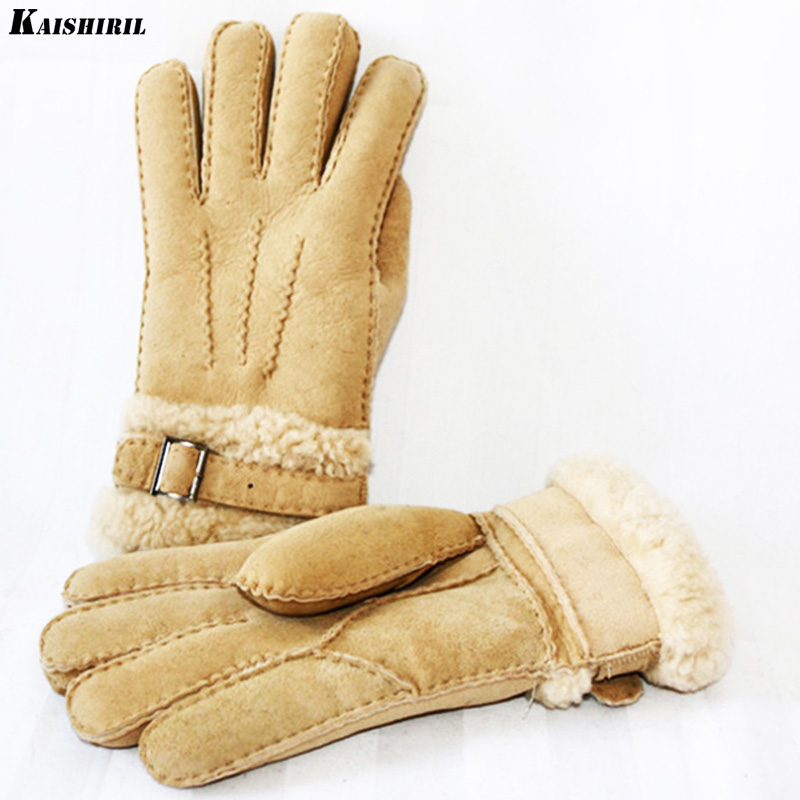 Men's Winter Gloves Men Leather Wool Gloves Thermal Warm Mittens Soft Cashmere Genuine Sheep Fur Snow Gloves Real Leather