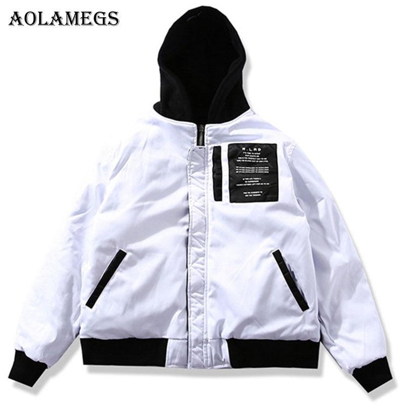 Aolamegs Winter Men Jacket Two Sides Wear MA 1 Thick Men S Jacket Zipper Polyester Long