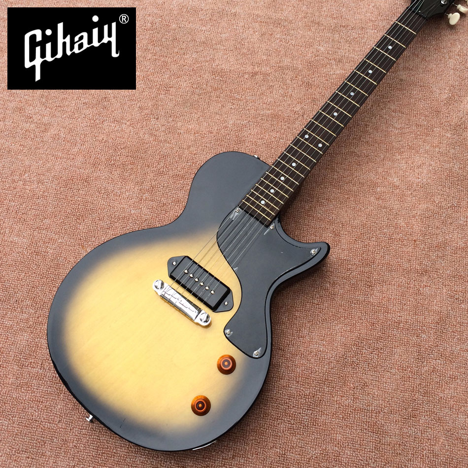 New style LP electric guitar, rosewood fingerboard, one piece of P90 pickup, chrome hardware electric guitar, free shipping new high quality black custom lp electric guitar 2 piece of p90 pickups electric guitar with chrome hardware free shipping