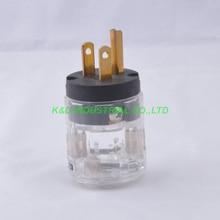 2pcs Audio AMP US AC Main Power Plug Male Polish Brass Transparent CORD NEW P029