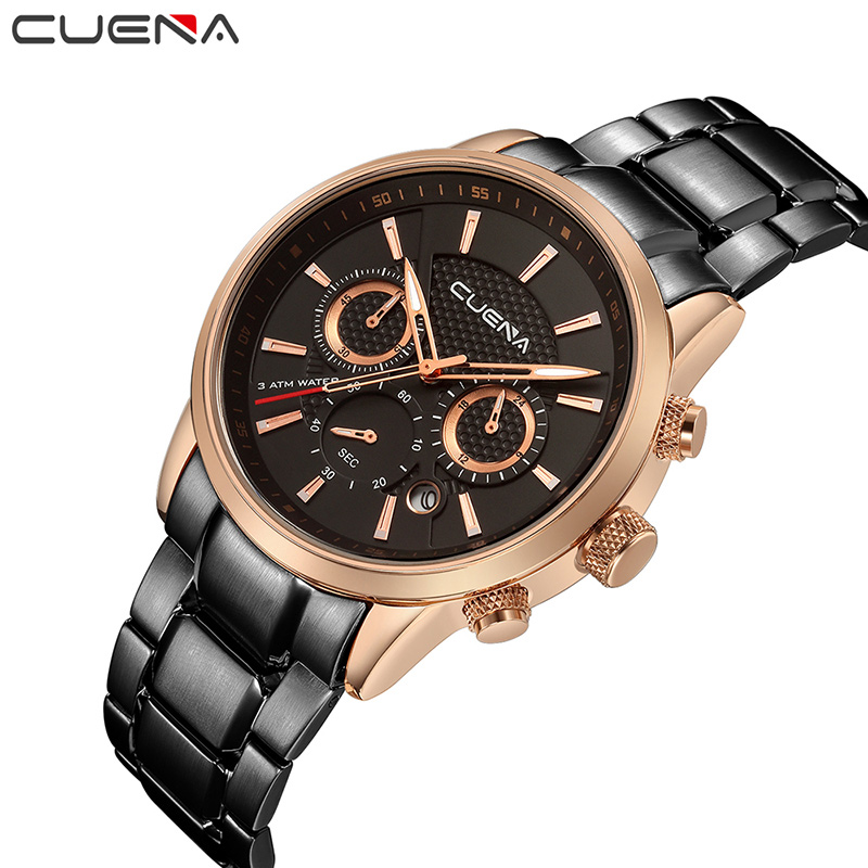 CUENA Sport Quartz Wristwatches Fashion Mens Watches Top Brand Luxury Stainless Steel Waterproof Relojes Clock Relogio Masculino mce top brand mens watches automatic men watch luxury stainless steel wristwatches male clock montre with box 335