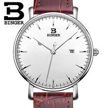 Suisse BINGER hommes montres marque de luxe quartz bracelet en cuir ultra-mince Calendrier Complet Montres Étanche B3053M