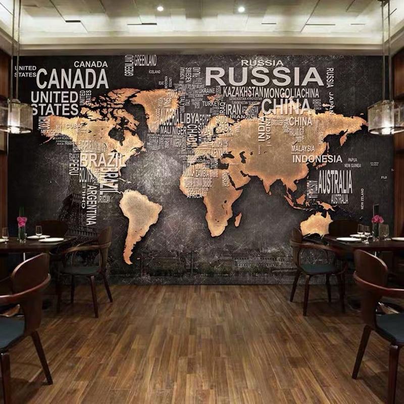 Custom Mural Wallpaper 3D Archaic World Map Photo Wall Painting Restaurant Cafe Bookstore Background Wall Decor Papel De Parede