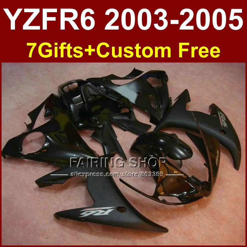 DER matte black body repair parts for YAMAHA R6 fairing kit 03 04 05 fairings YZF R6 2003 2004 2005 Motorcycle sets E6U injection molding bodywork fairings set for yamaha r6 2008 2014 blue black full fairing kit yzf r6 08 09 14 zb83