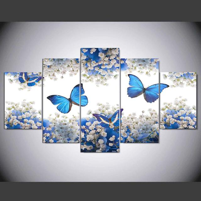 Artryst Canvas Painting Poster Wall Picture For Living Room Wall Art 5 Panel Blue Butterfly Home Decor Frames Modular Pictures