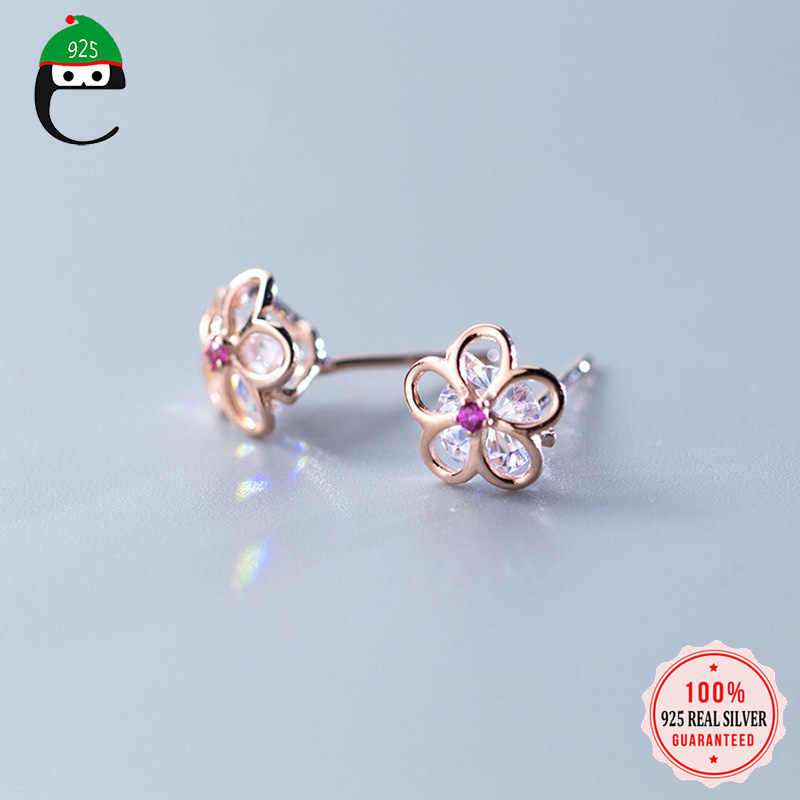 ElfoPlataSi 2019 100% 925 Solid Real Sterling Silver Jewelry 8mmX8mm Flower CZ Stud Earring For Teen Girl Friend Kid Lady XY1042