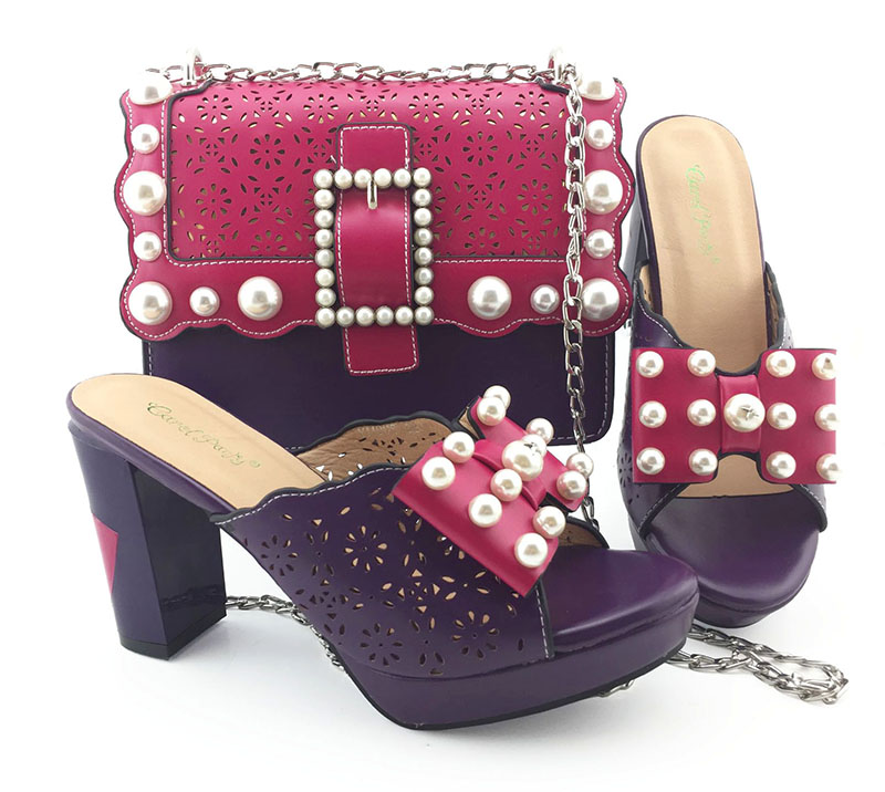 High quality fushia hot pink 4 iinches slippers shoes and clutches bag matching set for african lace dress aso ebi SB8392-4High quality fushia hot pink 4 iinches slippers shoes and clutches bag matching set for african lace dress aso ebi SB8392-4