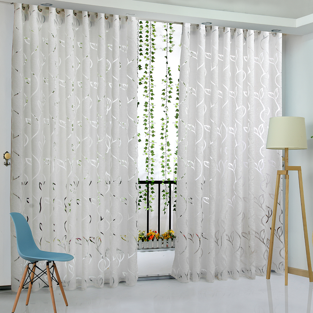 leaves products elm frost west curtains gray vine curtain o cotton printed canvas