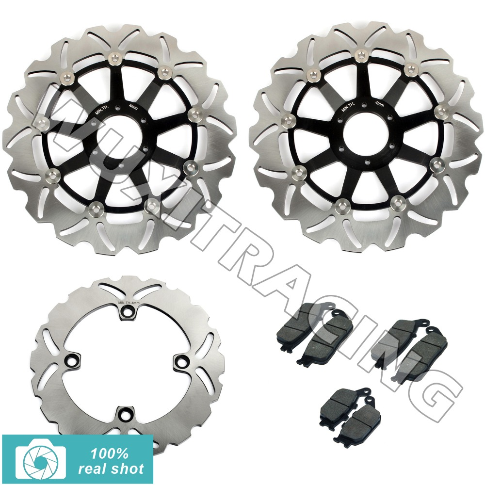 00 01 02 03 04 05 06 New Full Set Front Rear Brake Discs Disks Rotors + Pads for Honda CB-F 600 CB 600 F HORNET S F2 mfs motor motorcycle part front rear brake discs rotor for yamaha yzf r6 2003 2004 2005 yzfr6 03 04 05 gold