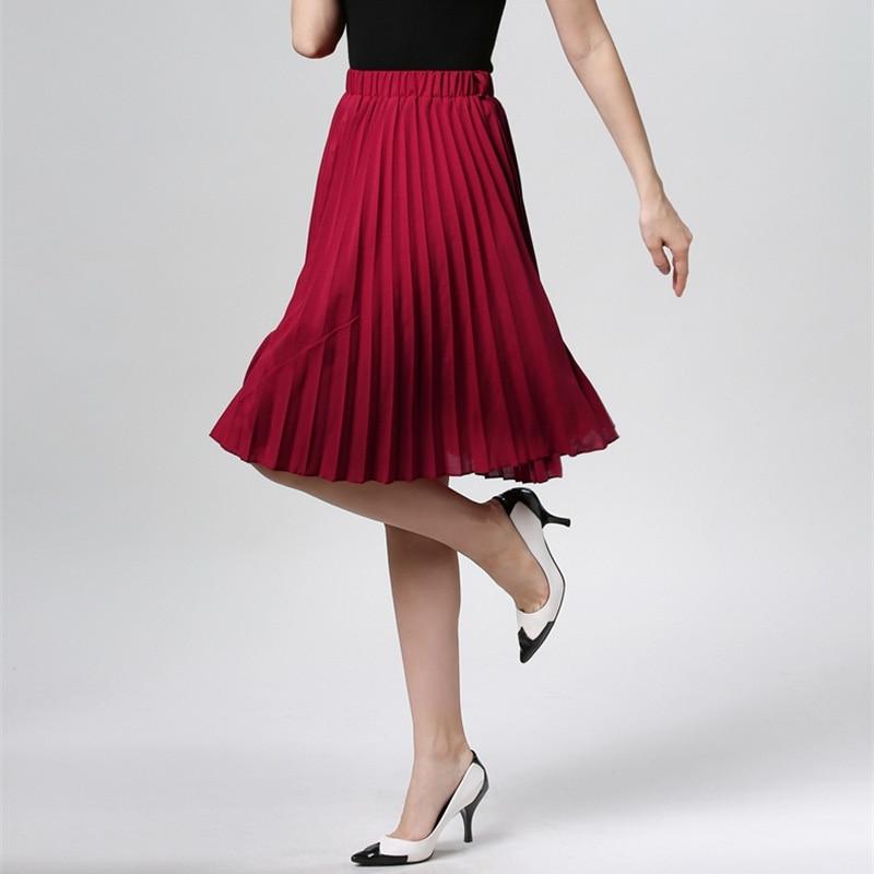 Image 2 - High Waist Pleated Skirt Women Solid Color Chiffon Vintage Knee Length Elastic Waist Skirt Spring Autumn Fashion Pink Skirts