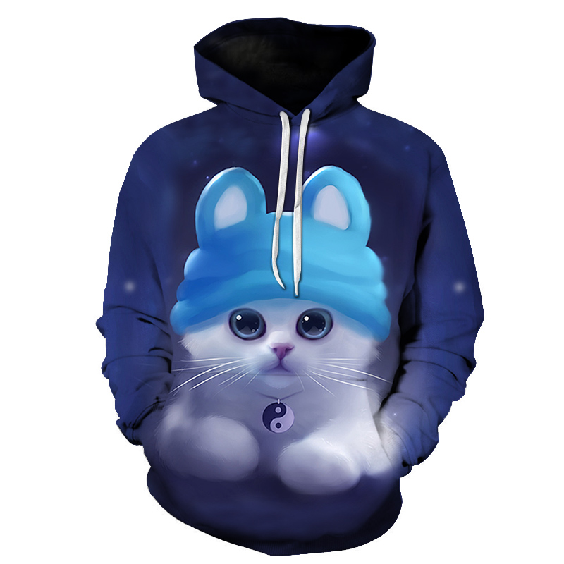 2018 winter new fashion color matching woman hoodie cute kitten 3d pattern pullover women's sportswear Larger Asian sizes