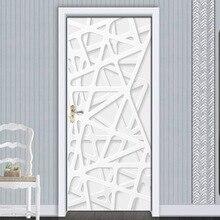 White Geometric Door Sticker For Living Room Bedroom DIY PVC Self Adhesive Wallpaper Waterproof Mural Decal