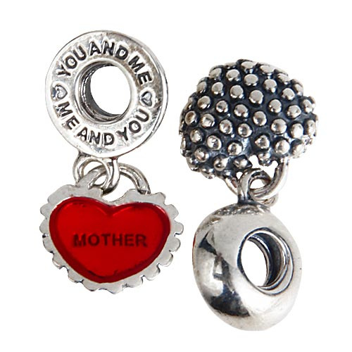 Mother And Daughter Heart Shape Authentic 925 Sterling Silver Dangle Charms Pendants Beads With Screwed Threaded Hole SDC921