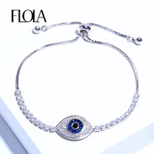 FLOLA Classic Blue Evil Eye Micro Pave CZ Charm Bracelet Bar Slider Brilliant Tennis Chain Bangle Bracelet Femme Jewelry brta39(China)