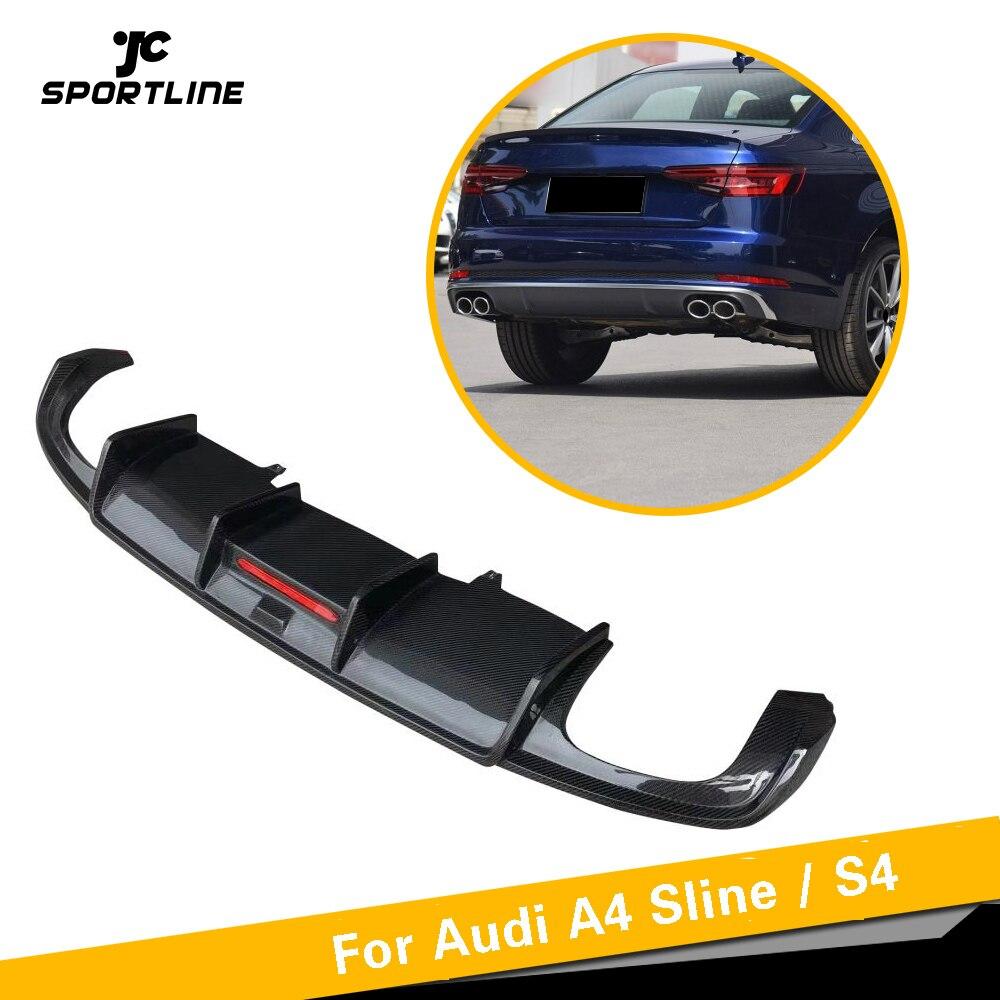 Para S4 Fibra de Carbono Difusor Traseiro Lip Spoiler Para Audi Sline A4 B9 S4 A4 4 Sedan Porta 2017 2018 2019 Carros Guarda