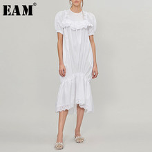 [EAM] 2020 New Spring Summer Round Neck Short Sleeve White Lace Ruffles Split Joint Temperament Dress Women Fashion Tide JW634(China)