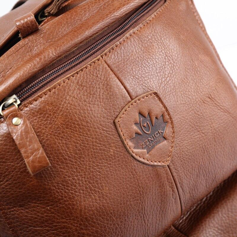 ZZNICK, высокое качество, Воловья кожа, первый слой, ранец, мужская сумка для компьютера, школьные сумки, винтажный рюкзак из натуральной кожи, м... - 6