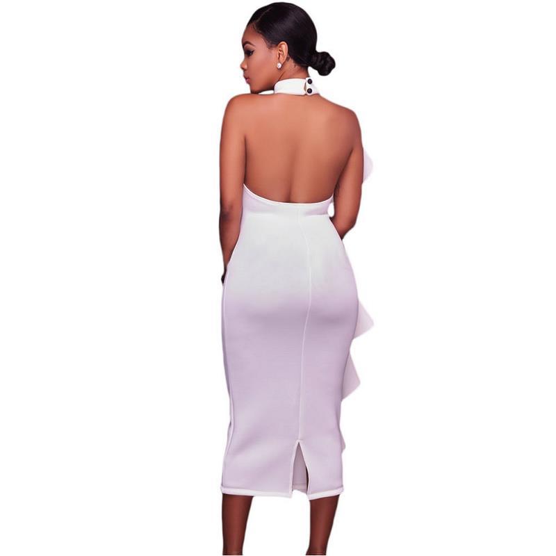 ADEWEL 2017 Women Big Ruffles Midi Elegant Dress Sexy Open Back Bodycon Party Dress High Neck Vintage Pencil Dress 15