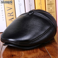 SILOQIN Genuine Leather Hats For Men Women Warm Velvet Fur Thick Sheepskin Leather Men's Berets Winter Women's Earmuffs Hat NEW