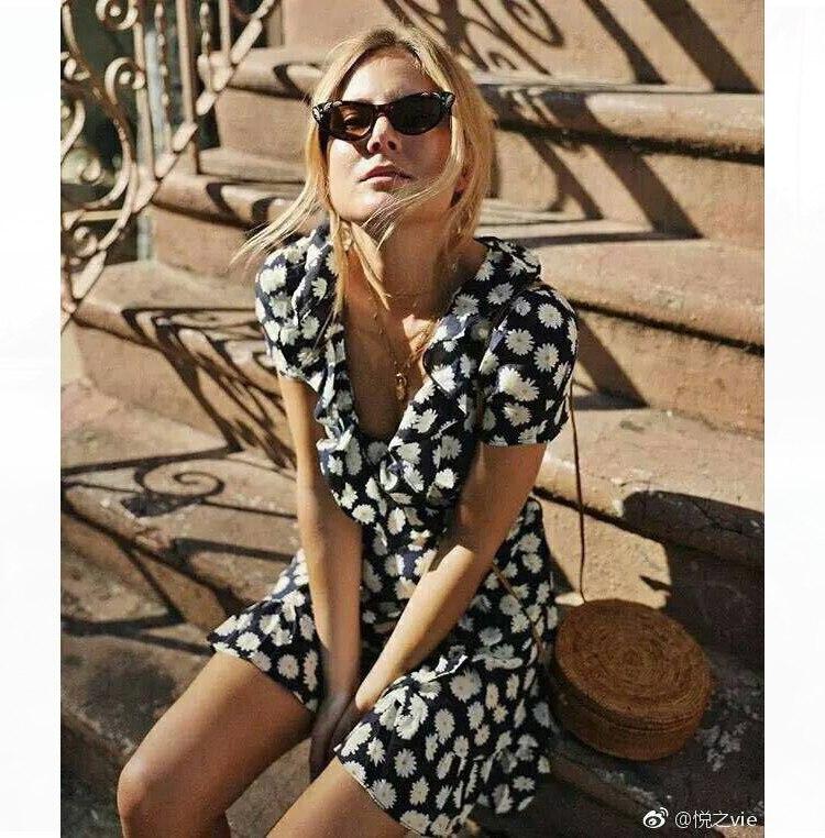 Femme Volant Multi Floreale Signore Donna Corta Boho Da Del Scollo Manica Con Abiti Mini Veste Estate Sposa V 2019 Delle Avvolgere Vestito A qHg1Bqx