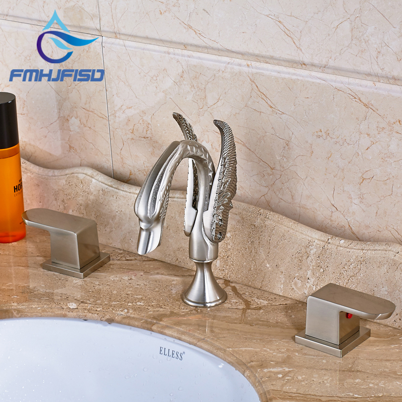 Promotion Swan Shaped Spout High Quality Brushed Nickel Two Handles Three Holes Bathroom Faucet