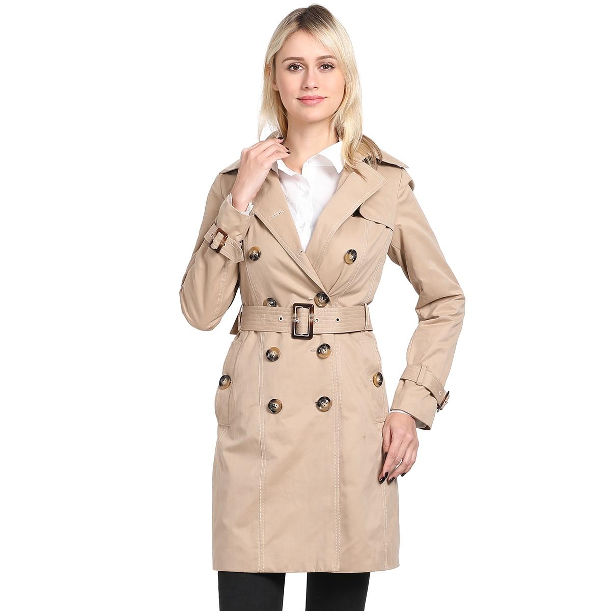 Caban Breasted Designer Nouvelle Mode Européenne Trench Double Marque Classique Réel coat Noir Photos Kaki Femmes 7BwqF